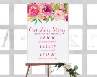 Wedding Date Sign Important Dates Sign Floral Wedding Name Sign Our Love Story Sign Personalized Wedding Love Story Sign  #CL117