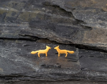 Solid Gold Earrings Fox Earrings Fox Studs in 14k solid Gold Woodland Jewelry Gold minimal studs dainty earrings Mothers day gift fall studs