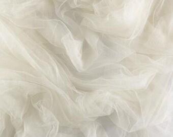 100% French silk tulle - ivory - priced per half yard - 1/2 yard
