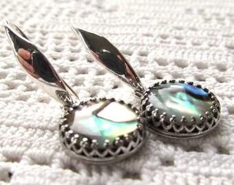 12mm Bezel Set Paua Shell Drop Dangle Earrings in Sterling Silver