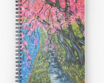 Spiral Notebook, daily journal, planner organizer, Cherry Tree Blossoms, diary, guest book, gratitude journal, lined pages