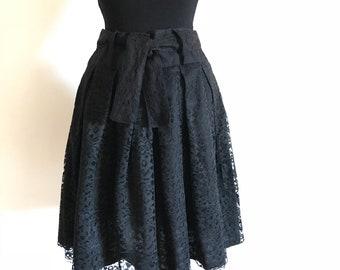 Vintage 80's Happy Legs Black Lace Skirt Size 11/12,  #264