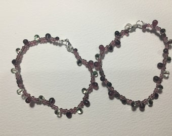 Purple teardrop bracelet