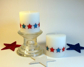 Red White and Blue Patriotic Candle, Patriotic Decor, Centerpiece Candle, 4th of July Decor, July 4th Decorations, Summer Table, Set of 2