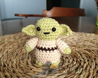 Yoda Inspired Amigurumi doll- MADE to ORDER- Star Wars Inspired dolls