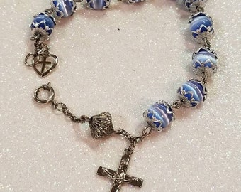 Blue Catseye Gemstone Beaded Bracelet with Silvertone Heart  Cross Religiois Charms
