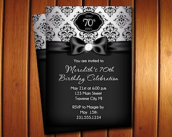 Diamond Birthday Invitation - Adult Birthday Party Invitation - Black and Silver Damask