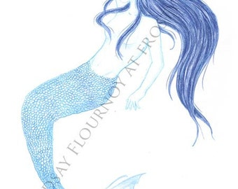 Blue Mermaid 2 - Large Print