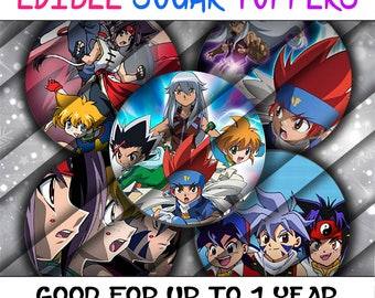 PreCut Edible Icing Image Birthday Beyblade Shower Mini Lollipop Cupcake Cookie Birthday Toppers Blade Metal Fusion