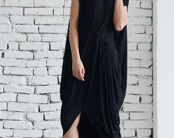 Black Sleeveless Loose Dress/Oversize Black Tunic Top/Everyday Casual Dress/Asymmetric Kaftan/Maxi Black Dress/Plus Size Long Top