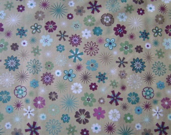 Small Floral Gold Cotton Fabric by the yard