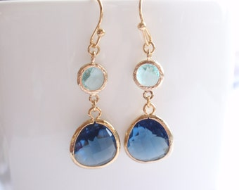 Montana Drop, Aqua Gold Frame Earrings-simple everyday jewelry- Bridesmaid,Wife, Girlfriend, Mothers Gift Idea