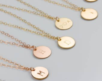 Initial Disc Necklace • Personalized Necklace for Women • Monogram Necklace • Initial Necklace Gold• Bridesmaid Personalized Necklace|0278NM