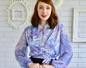 Vintage Purple and Blue Floral Blouse with Sheer Sleeves by Lady Carol Petites Size Small or Medium