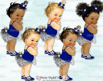 Navy Blue Silver Ruffle Pants Sneakers Bows   Vintage Baby Girl   Clipart Instant Download