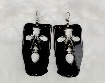 Acrylic Gimp Earrings // Laser Cut // Black