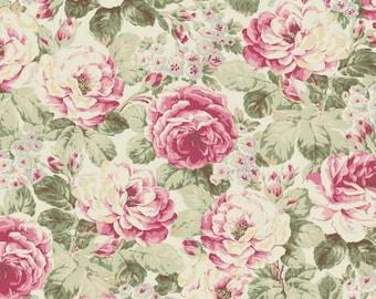 Ruru Bouquet Prima  Roses on Cream Cotton Fabric Rose ru2260-11A