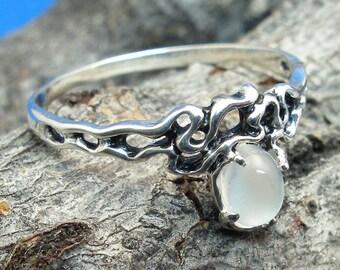 Moonstone Organic Swirl Elven Ring, Hand Crafted Recycled Sterling Silver, June Birthstone, handmade fantasy vine elf elves style ring