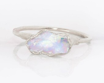 Silver Opal Ring, Gemstone Ring, Stacking Ring, Opal Engagement Ring, Raw Crystal Ring, Blue Opal Ring, October Birthstone, Raw Opal Ring