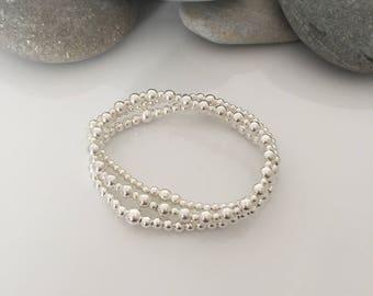 Set of 3 sterling silver beaded stretch bracelets. Sterling silver stacker bracelets.  Silver beaded bracelets