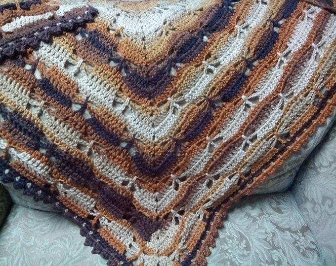 60x30 Crochet Shawl, Handmade Yarn Wrap, Butterfly Prayer Shawl