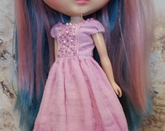 Blythe Dress –Lavender and Purple - OOAK - Hand Dyed – Boho/vintage/shabby chic inspired.