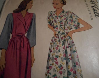 Vintage 1940's McCall 6496 Housecoat Sewing Pattern Size 12 Bust 30