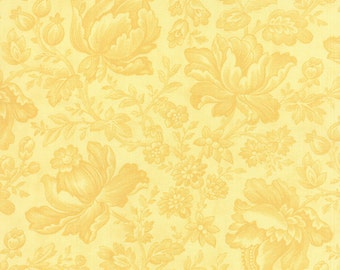 Whitewashed Cottage - Moda Fabric - Half Yard - Floral Damask Daffodil Yellow Large Scale Flowers Designer Cotton Fabric 3 Sisters 44062 15