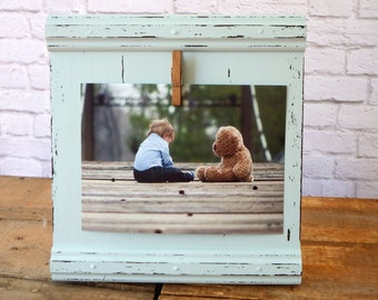 Baby blue picture frame - 4x6 wooden picture frame display - wood rustic picture frame - distressed picture frame - wall hanging frame