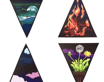 Elements print set (all four!) fire, water, earth, air