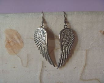 angel wing vintage earrings, silver tone vintage bird wing earrings