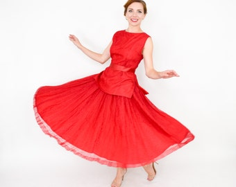 50s Lace Dress | Red Lace Full Skirt and Top with Belt | Small
