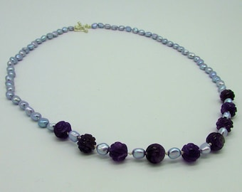 Necklace - Lilac baroque pearl and hand carved amethyst roses with sterling silver