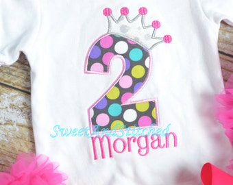 Pink polka dot Princess birthday outfit  - Pink Princess birthday shirt! 1st, 2nd, 3rd, 4th, 5th, etc birthday shirt or birthday outfit!