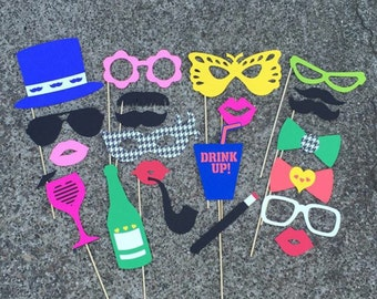 Photo Booth Props - set of 22 - Colorful Fun Wedding Props, Party Props, Photobooth Props, Birthday Props, Props on Sticks