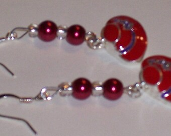 Red Hat Ladies Beautiful Drop Earrings, Two Red Pearls. Free Shipping