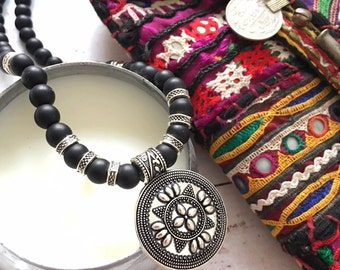 Indian Rajasthani inspired round pendant necklace matte Black Onyx beaded necklace Tribal Ethnic style layering necklace by Inali