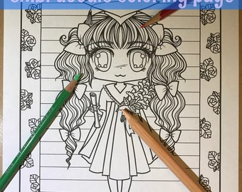 Chibi girl graduation Doodle Anime Manga Coloring Page for Adult Coloring PDF download by JennyLuanArt