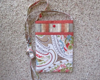 Green, Blue and Beige Paisley Print Front Pocket on a Corresponding Striped Print Quilted Crossbody/Shoulder Bag, Tablet/Mini-iPad Bag