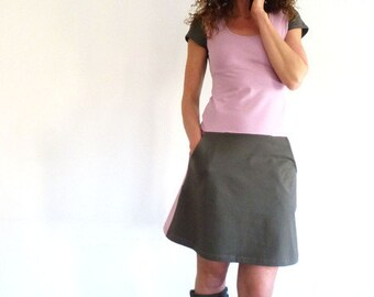 Dress with pockets, short sleeve, taupe and old Rose