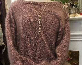 Pink sweater and taupe (Heather) angora and lurex