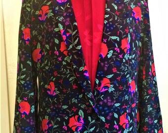 Pure Silk Jacket, Pure Silk Blazer, Floral Silk Jacket, Elegant Blazer, Small Silk Blazer, Valentines Day, SALE