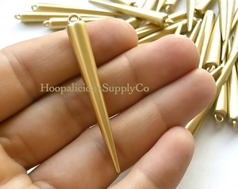 25 LARGE MATTE GOLD Spike Beads with Top Loop- 52mm- Fast Shipping and Delivery Confirmation/Tracking Included in Shipping Costs