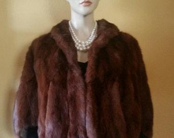 SALE Vintage - Fur Stole - Mahogany - Real Fur Capelet- Wedding Fur Stole - Minty Condition - Vintage Fur Stole