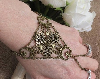 Geometric Heart Slave Bracelet ring, Belly Dancer jewelry, Geometric Slave Jewelry, Slave bracelet, bdsm, heart hand chain wedding ring