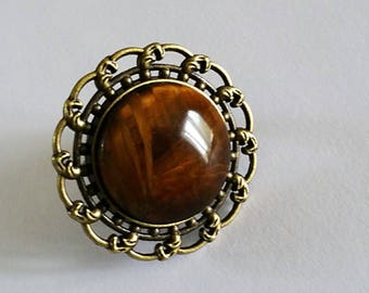 Ring cabochon out of natural stone semi precious floral silvercolor Tiger's eye antiqued silver