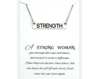 Strength Bar Necklace - Strong Woman Necklace - Inspirational Jewelry - Inspirational Gift - Strength Necklace