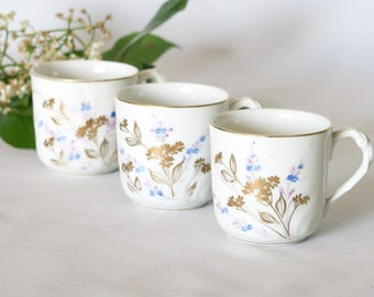 3 French Vintage Tea Cups, Coffee Cups, Vintage Cup, Flower Motif, Porcelain, Blue & Gold, French Cottage, French Tableware, France, 1950's