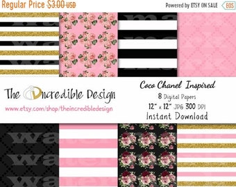 ON SALE Coco Chanel Glitter Inspired digital paper pack for scrapbooking, Making Cards, Tags and Invitations, Instant Download