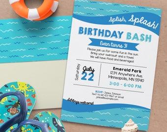 Splish Splash Birthday Invite. Pool birthday bash. Splash pad birthday. Personalized - Digital File *DIGITAL FILE*